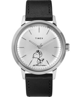 Marlin® 40mm Automatic Featuring Snoopy Leather Strap Watch Black/Silver-Tone large