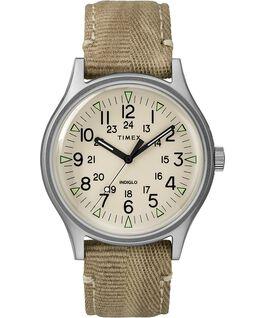 Zegarek MK1 ze stalową kopertą 40 mm i paskiem materiałowym Stalowy/Jasnobrązowy/Naturalny large