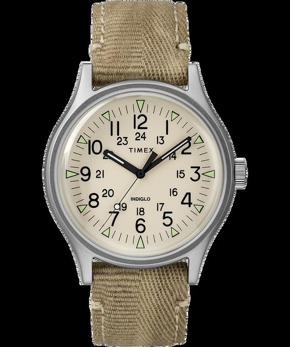 Zegarek MK1 ze stalową kopertą 40 mm i paskiem materiałowym Stal nierdzewna/Jasnobrązowy/Naturalny large
