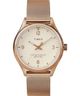 Damski zegarek Waterbury Traditional 34 mm z siatkową bransoletą Różowe złoto/Kremowy large