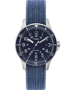 Navi Ocean 38mm Reversible Stonewashed Fabric Strap Watch Stainless-Steel/Blue/Black large