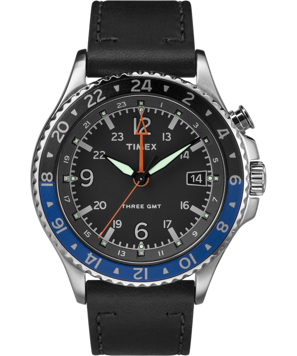 Allied Three GMT 43mm Leather Watch  large