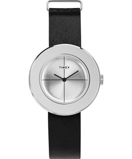 Variety 34mm Leather Strap Watch Silver-Tone large