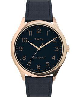 Zegarek Easy Reader Gen1 40 mm z paskiem skórzanym Różowe złoto/Niebieski large
