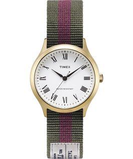 Zegarek Whitney Avenue z kopertą 36 mm i dwustronnym paskiem z grogramu-1 Złoty/Biały large