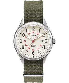 Zegarek Waterbury United 38 mm z paskiem materiałowym Srebrny/Zielony/Naturalny large