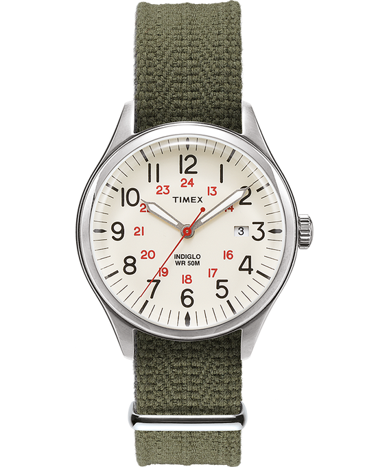 Waterbury United 38mm Fabric Strap Watch Silver-Tone/Green/Natural large