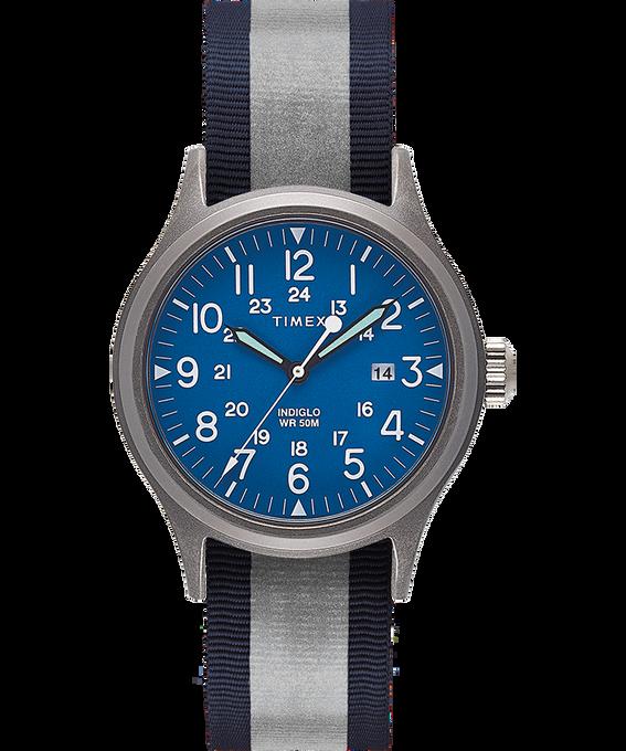 Zegarek Allied z kopertą 40 mm i dwustronnym paskiem materiałowym z detalem odblaskowym Silver-Tone/Blue large