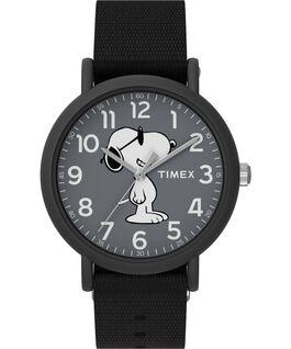 Timex x Peanuts Weekender 34mm Fabric Strap Watch Black large