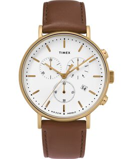 Fairfield Chronograph 41mm Leather Strap Watch Gold-Tone/Brown/White large