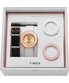 Zegarek Variety z kopertą 34 mm i skórzanym paskiem w zestawie prezentowym Różowe złoto/Biały large