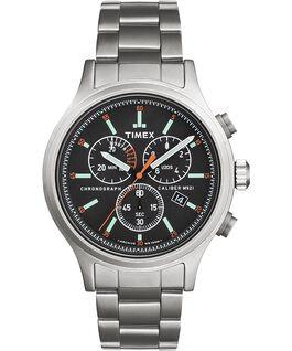 Zegarek Allied Chronograph 42 mm ze stalową bransoletą i indeksami godzin Srebrny/Stal nierdzewna/Czarny large