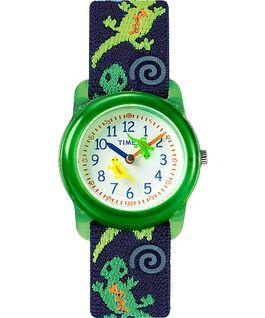 Dziecięcy zegarek analogowy z kopertą 29 mm i paskiem z elastycznego materiału Green/Blue/White large