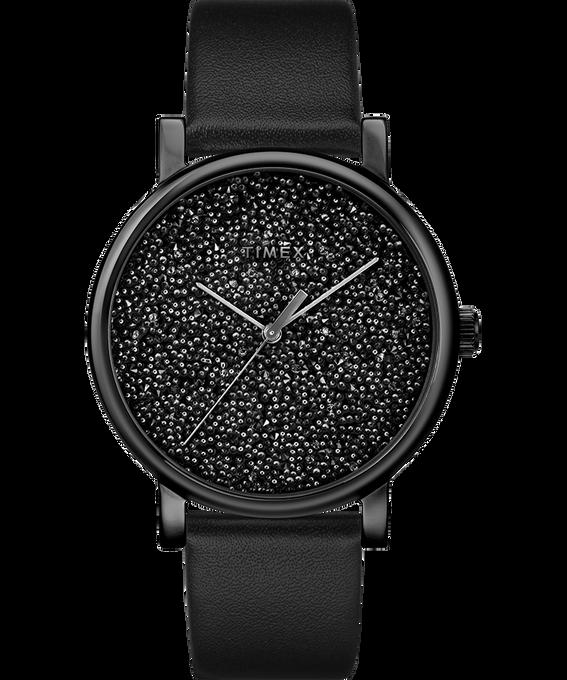 Zegarek Crystal Opulence z kopertą 38 mm, tarczą z kryształkami Swarovski oraz skórzanym paskiem W kolorze złota/Czarny large