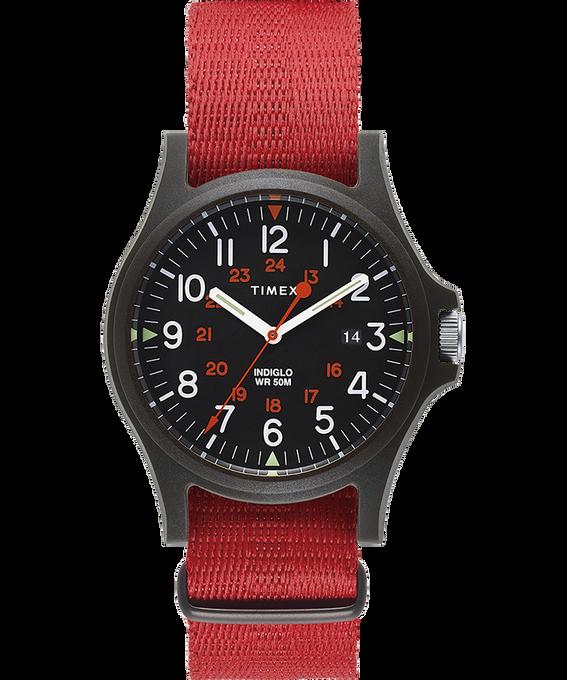 Zegarek Acadia z kopertą 40 mm i paskiem materiałowym Czarny/Czerwony large