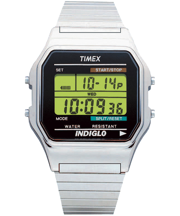 Classic Digital Silver-Tone/Stainless-Steel large