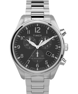 Waterbury Traditional Chronograph 42mm Stainless Steel Bracelet Watch Stainless-Steel/Black large