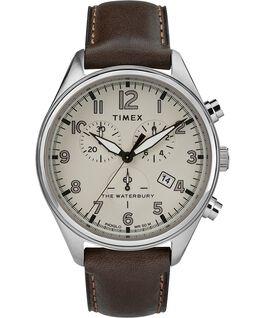 Zegarek Waterbury Traditional Chronograph z trzema wskazówkami, kopertą 42 mm i skórzanym paskiem Stal nierdzewna/Brązowy/Jasnobrązowy large