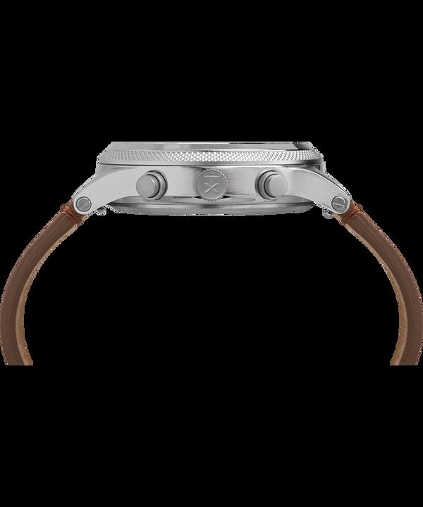 Zegarek Allied LT Chronograph z kopertą 42 mm i skórzanym paskiem Srebrny/Brązowy/Czarny large