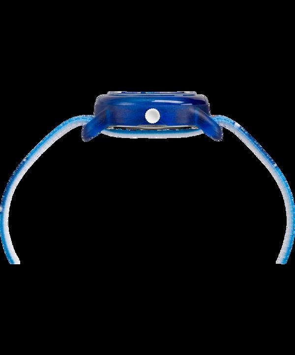Dziecięcy zegarek analogowy z kopertą 28 mm i paskiem z elastycznego materiału Blue/White large