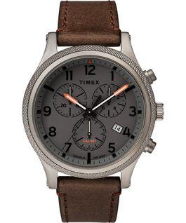 Zegarek Allied LT Chronograph z kopertą 42 mm i skórzanym paskiem Szary/Brązowy large