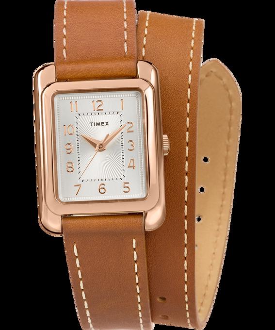 Zegarek Addison Double-Wrap 25 mm z paskiem skórzanym W kolorze różowego złota/Jasnobrązowy/W kolorze srebra large
