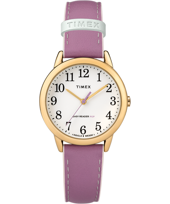 Easy-Reader-30mm-Exclusive-Color-Pop-Leather-Womens-Watch Gold-Tone/Purple/White large