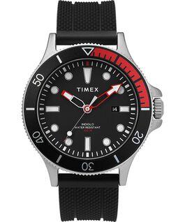 Zegarek Allied Coastline z kopertą 43 mm, obrotowym pierścieniem i silikonowym paskiem Srebrny/Czarny large