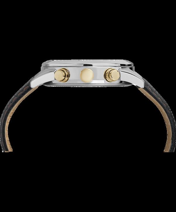 Zegarek Torrington Chronograph z kopertą 40 mm i skórzanym paskiem Stal nierdzewna/Czarny/W kolorze złota large