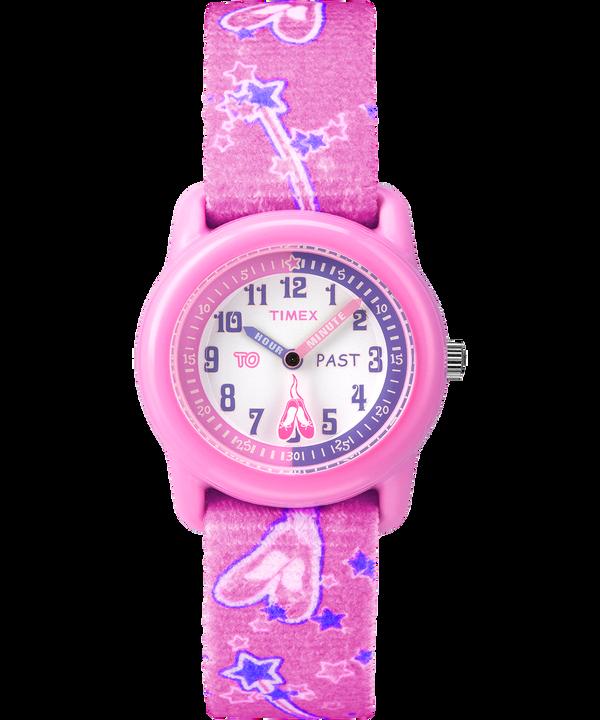 Dziecięcy zegarek analogowy z kopertą 29 mm i paskiem z elastycznego materiału Pink/White large