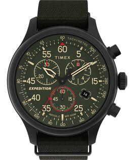 Zegarek Expedition Field Chronograph 43 mm z paskiem materiałowym Czarny/Zielony large