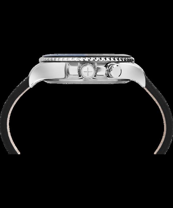 Zegarek Allied Three GMT z kopertą 43 mm i skórzanym paskiem Stainless-Steel/Black large