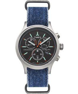 Zegarek Allied Chronograph z kopertą 42 mm i dżinsowym paskiem  large