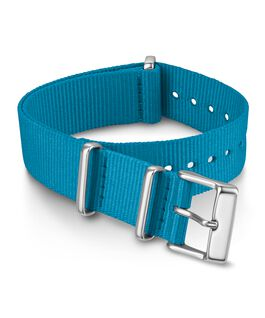 18mm Solid Color Fabric Slip-Thru Double Layer Strap Blue large