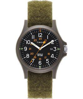 Zegarek Acadia z kopertą 40 mm i paskiem z tkaniny na rzepy Zielony/Czarny large