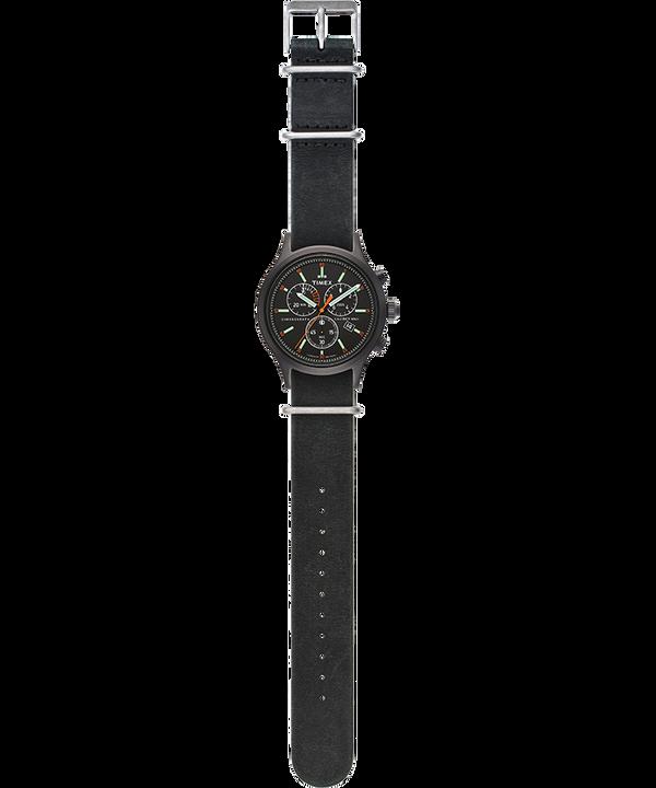 Zegarek Allied Chronograph z kopertą 42 mm i skórzanym paskiem Czarny/Czarny large