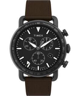 Zegarek Port Chronograph 42 mm z paskiem skórzanym Czarny/Brązowy large