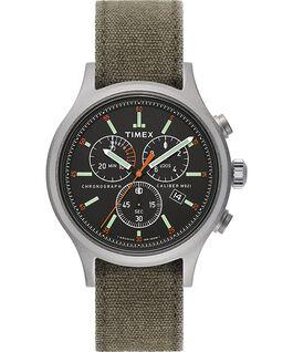 Zegarek Allied Chronograph z kopertą 42 mm i paskiem z dekatyzowanego materiału Srebrny/Zielony/Czarny large
