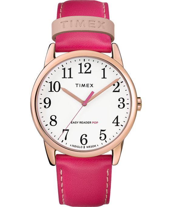 Easy-Reader-38mm-Exclusive-Color-Pop-Leather-Womens-Watch W kolorze różowego złota/Różowy/Biały large