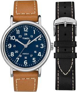 Zegarek Weekender z kopertą 40 mm i skórzanym paskiem w zestawie prezentowym Chromowany/Jasnobrązowy/Niebieski large