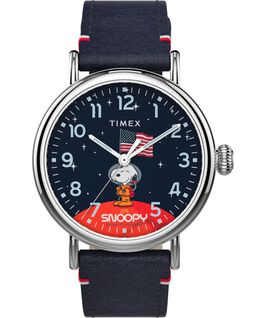 Timex x Space Snoopy Standard 40mm Leather Strap Watch Silver-Tone/Blue large
