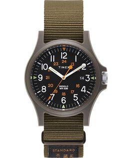 Zegarek Acadia z kopertą 40 mm i wojskowym paskiem z grogramu Zielony/Czarny large