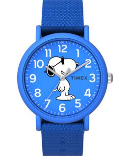 Timex x Peanuts Weekender 34mm Fabric Strap Watch Blue large