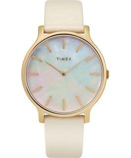 Zegarek Transcend z kopertą 38 mm i skórzanym paskiem Złoty/W kolorze złamanej bieli/Masa perłowa large