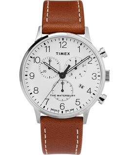 Fairfield Chronograph 41mm Leather Watch Silver-Tone/Tan/White large