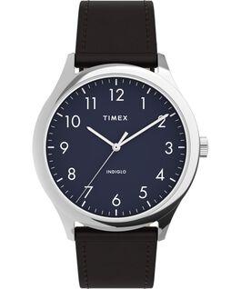 Zegarek Modern Easy Reader 40 mm z paskiem skórzanym Srebrny/Brązowy/Niebieski large