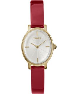 Zegarek Milano Oval z kopertą 24 mm i paskiem z lakierowanej skóry Złoty/Czerwony/Srebrny large
