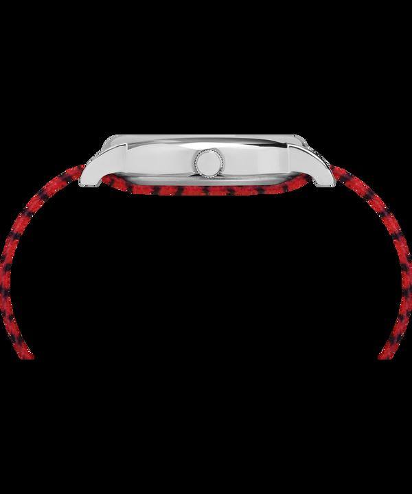 Zegarek Timex x Peanuts - Linus z kopertą 38 mm i materiałowym paskiem Silver-Tone/Red/White large