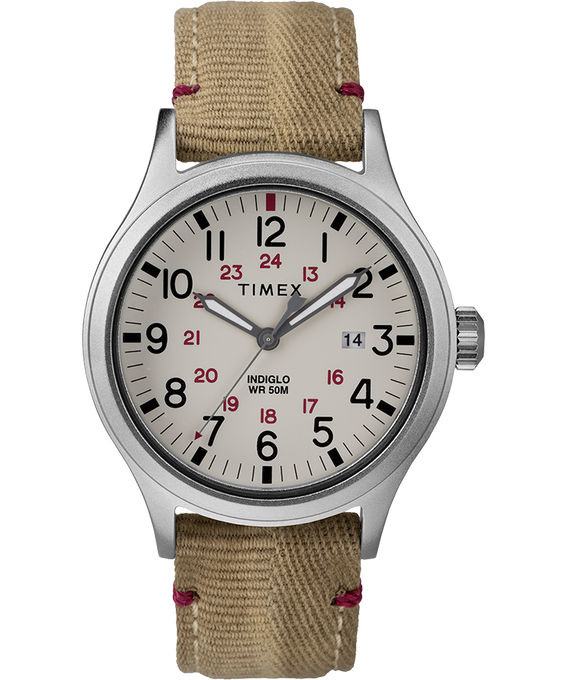 Allied 40mm Fabric Strap Watch Silver-Tone/Tan/Natural large