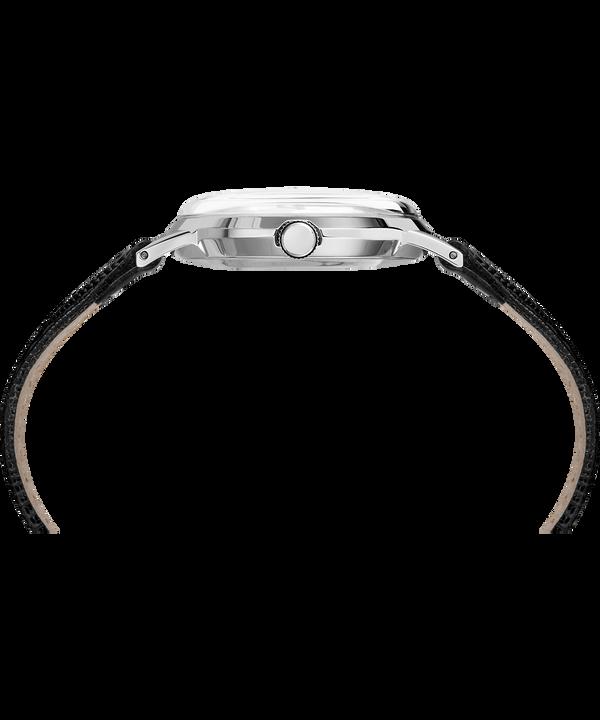 Zegarek Marlin® 34 mm z ręcznym naciągiem i paskiem skórzanym Black/Silver-Tone large